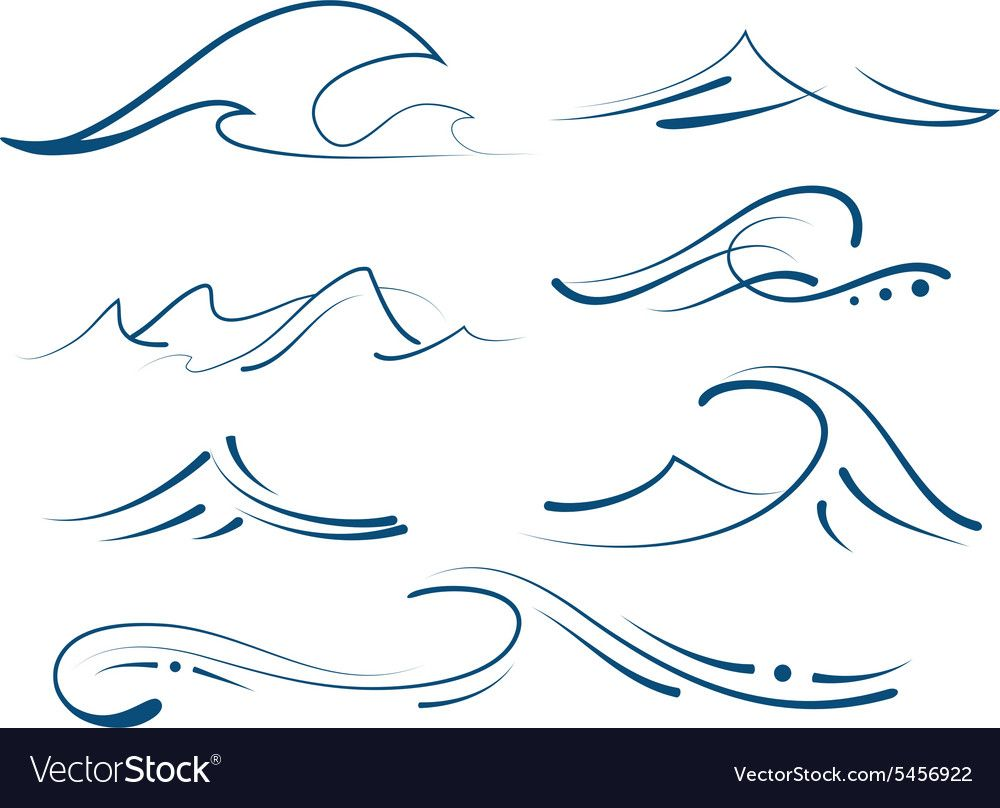 Photo of Waves set Royalty Free Vector Image – VectorStock