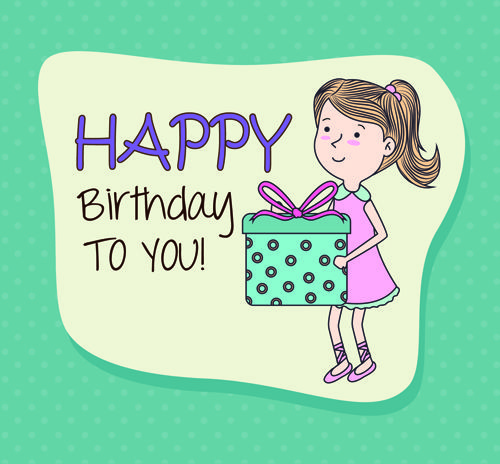 Cartoon Style Happy Birthday Greeting Card Template 05 Birthday