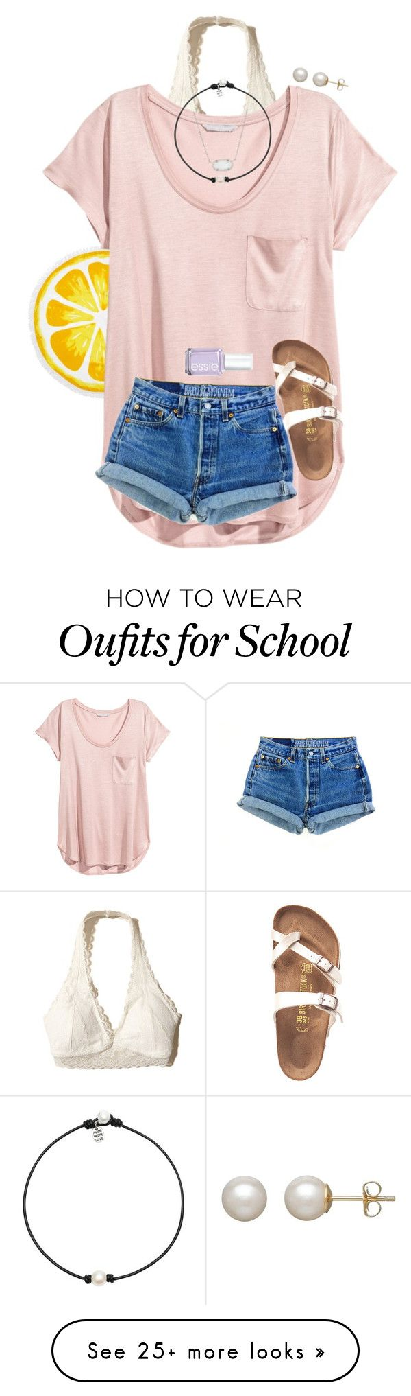 """w my babesss "" by preppy-renee on Polyvore featuring Nordstrom Rack, Hollister Co., H&M, Birkenstock, Kendra Scott, Honora and Essie"