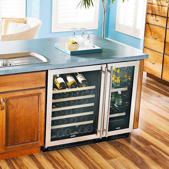 Kitchen Island Storage Ideas and Tips | Wine chiller, Countertop and ...