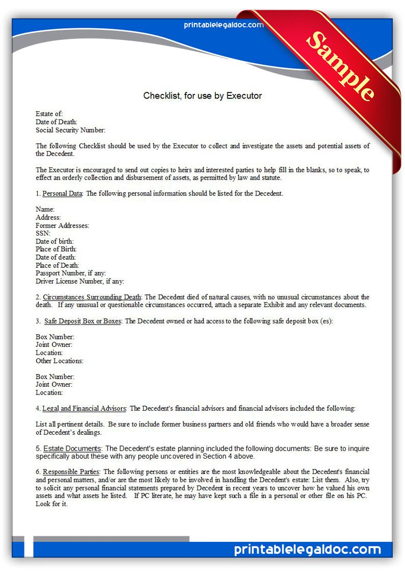 Free Printable Checklist, For Use By Executor | Sample