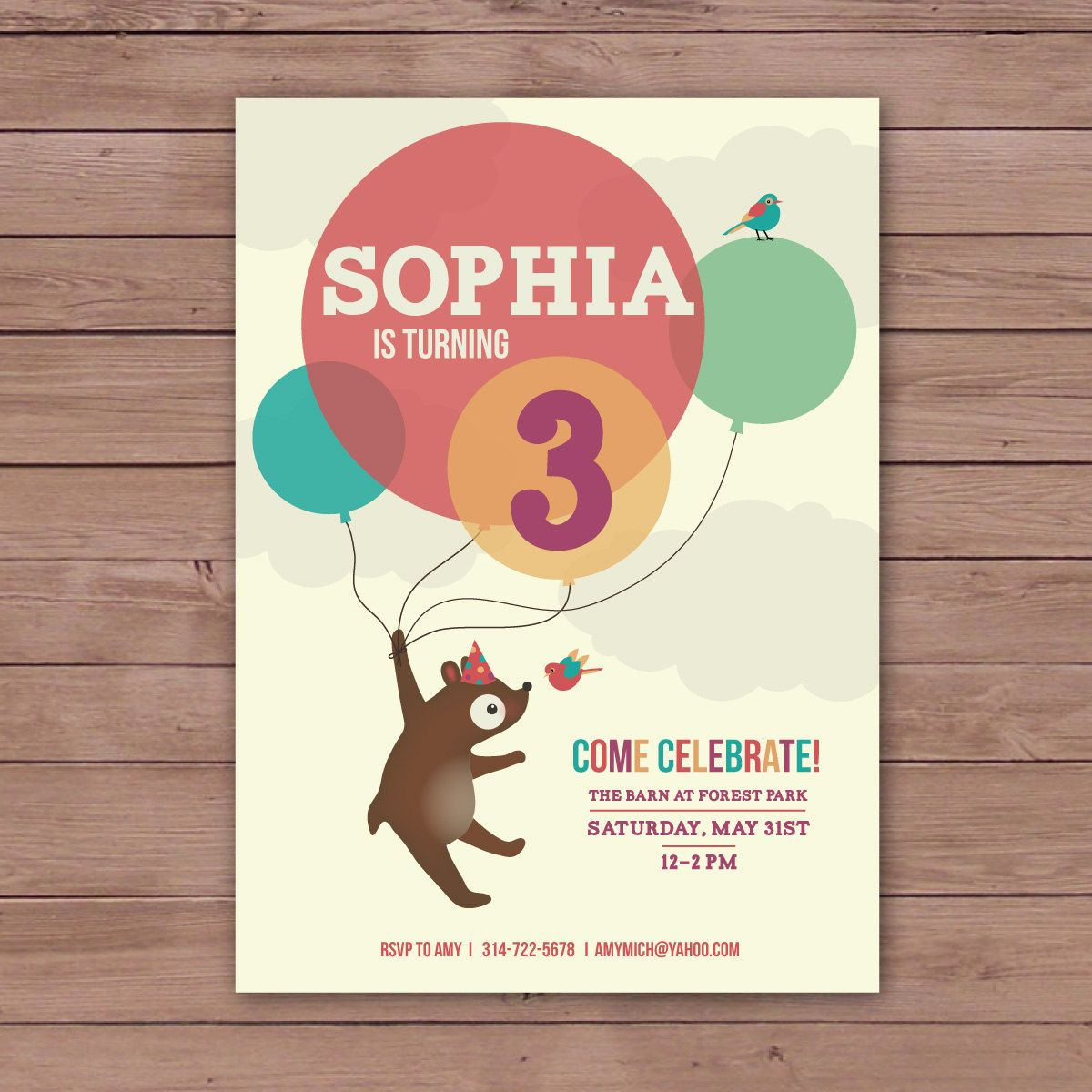 5x7 children s birthday invitations features bear birds and