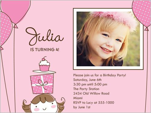Cute invitation Little Birthday Girl 4x5 Stationery Card by – Little Girl Party Invitations