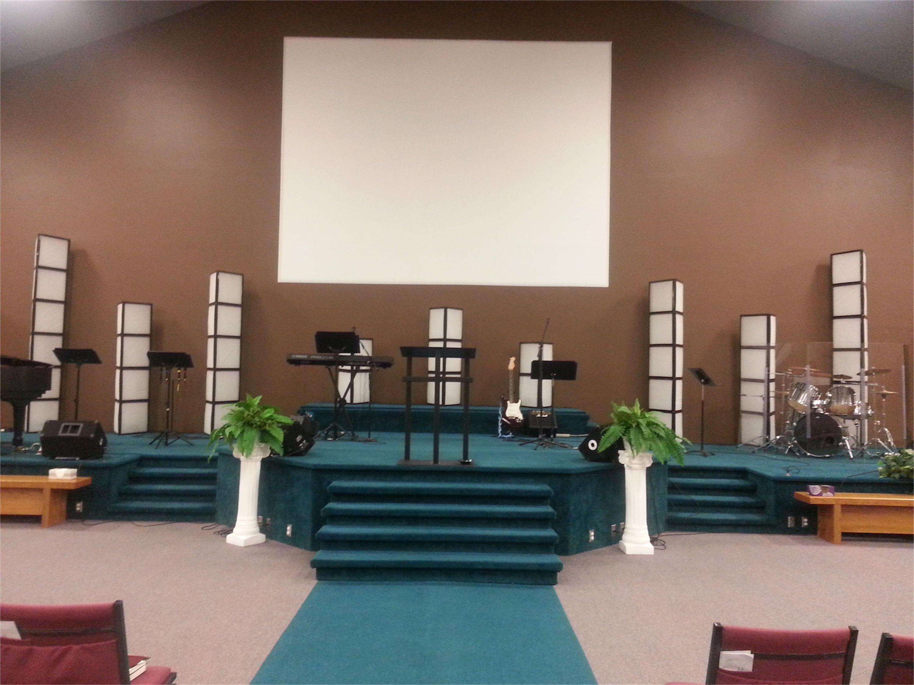 Tri Filters Church stage design, Air filter light boxes