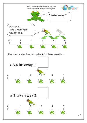 Subtraction With A Number Line - Frogs Maths Worksheet | Math frog ...