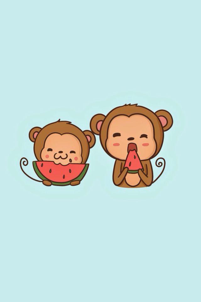 Kawaii Iphone Wallpaper Monkey Wallpaper Cartoon Baby Animals Monkey Illustration Cute baby monkey cartoon wallpaper