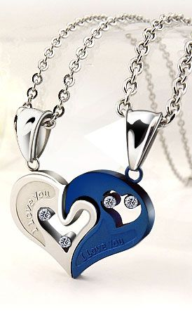 95b532290f Matching Couple Necklaces, Black White, Rose Gold, Blue Titanium Steel + CZ  Stones, His and Hers Split / Broken / Interlocking Heart Jewelry Gifts Set,  ...