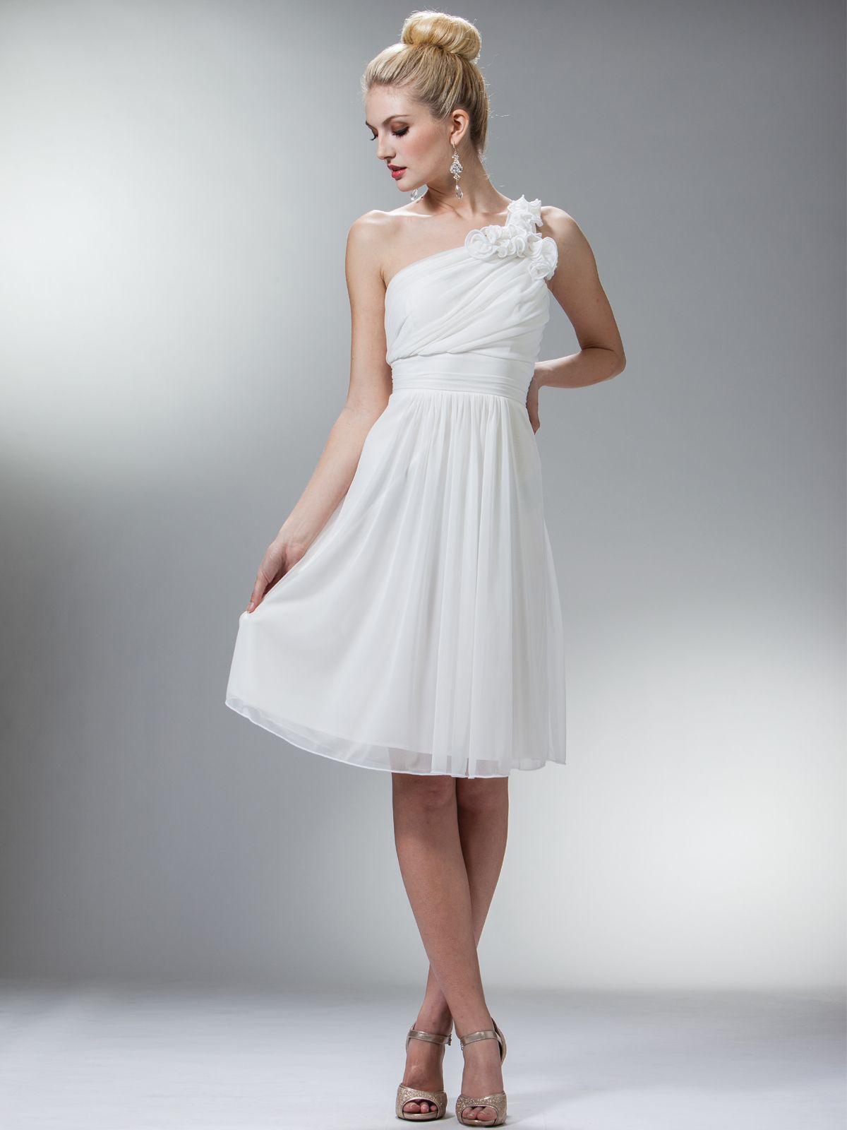 Off white one shoulder floral cocktail dress bridesmaid