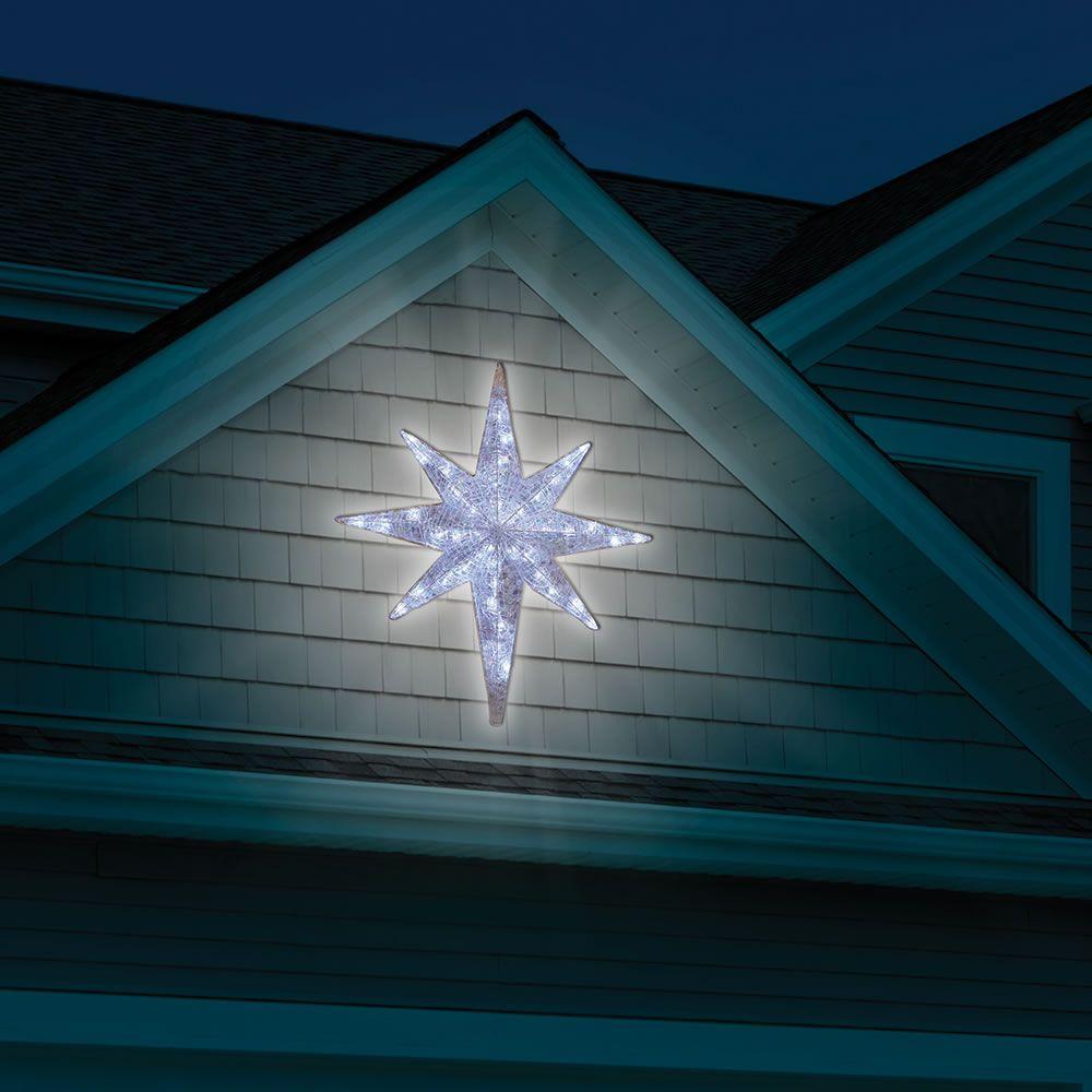 The Prismatic Star Of Bethlehem Light Show Hammacher Schlemmer Christmas Star Decorations Star Of Bethlehem Outdoor Christmas Lights