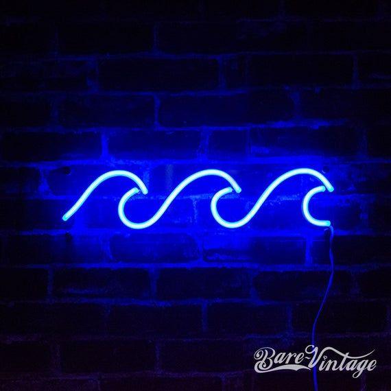 Wave LED Neon Bar Sign - Handmade Wave Neon Light - Custom