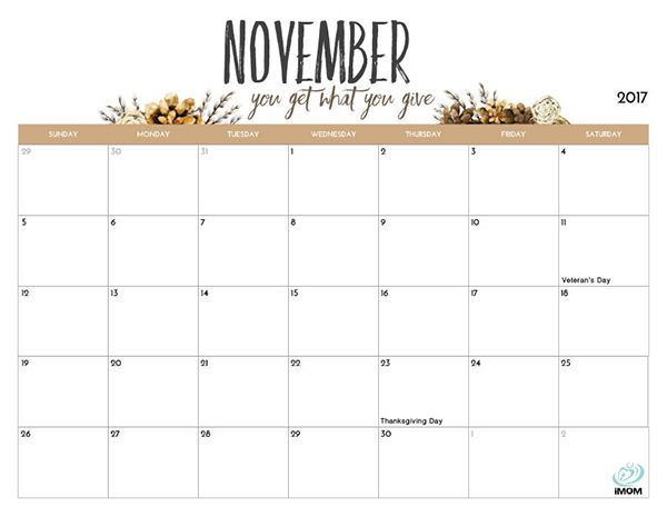 2020 Printable Calendar For Moms November Printable Calendar
