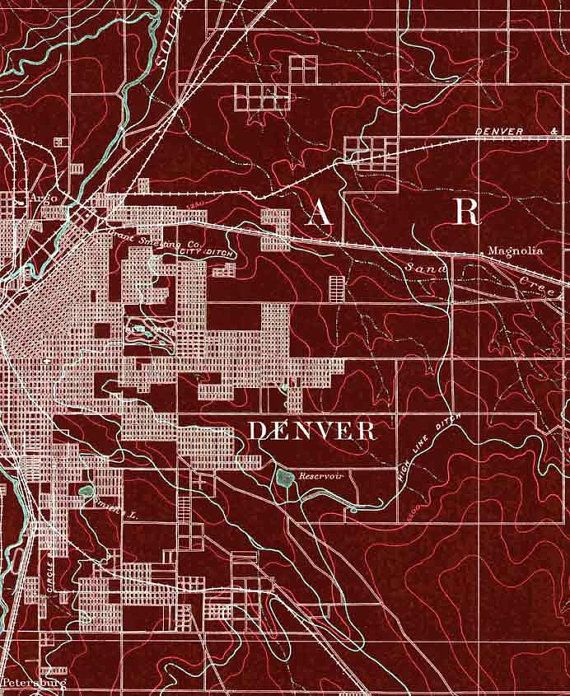 EAST DENVER Colorado Red Map Mid Century Map Art Print - 40x60 us maps
