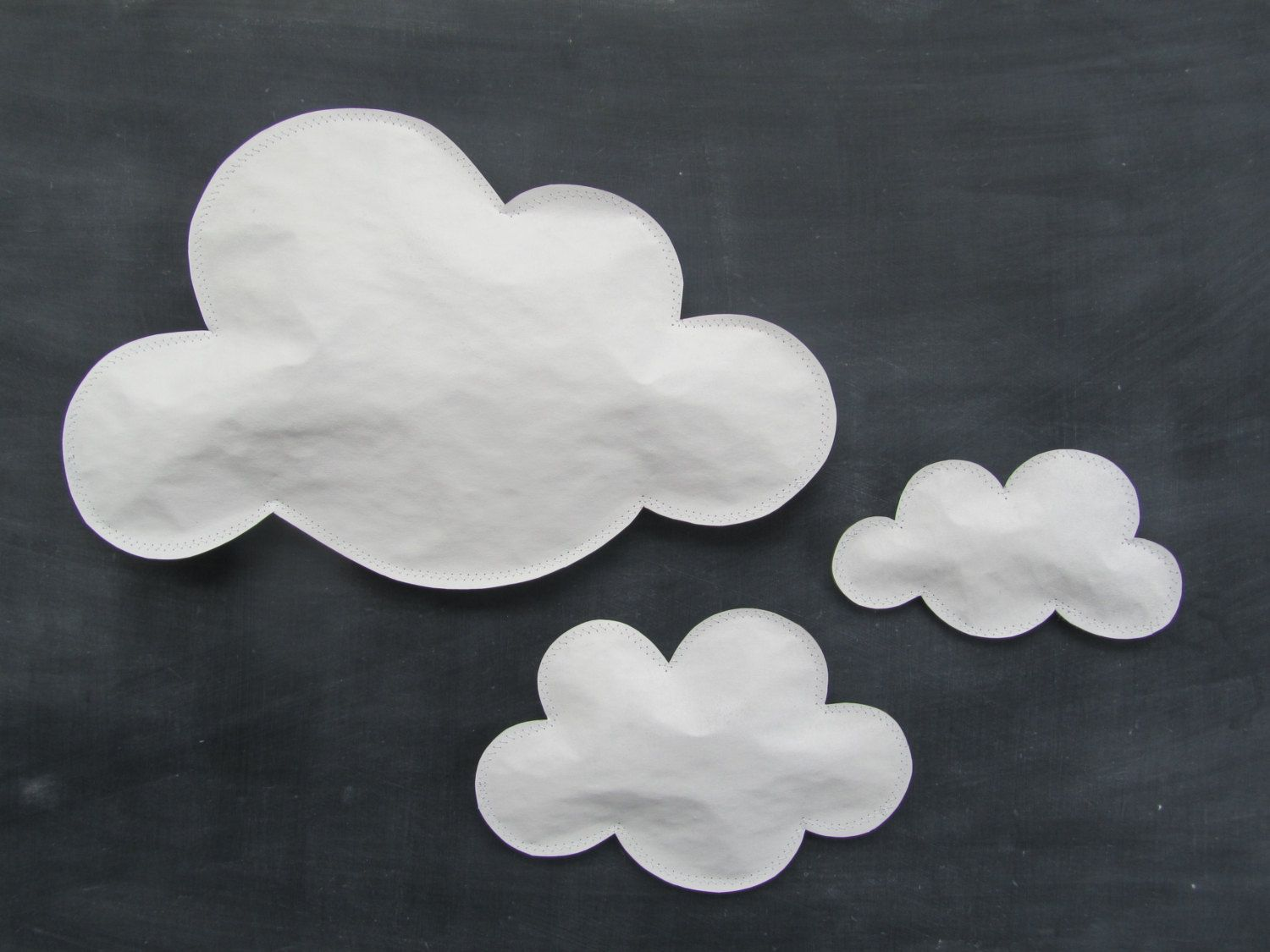 Paper Clouds Wall Decor : Cloud art set of three white paper clouds for wall