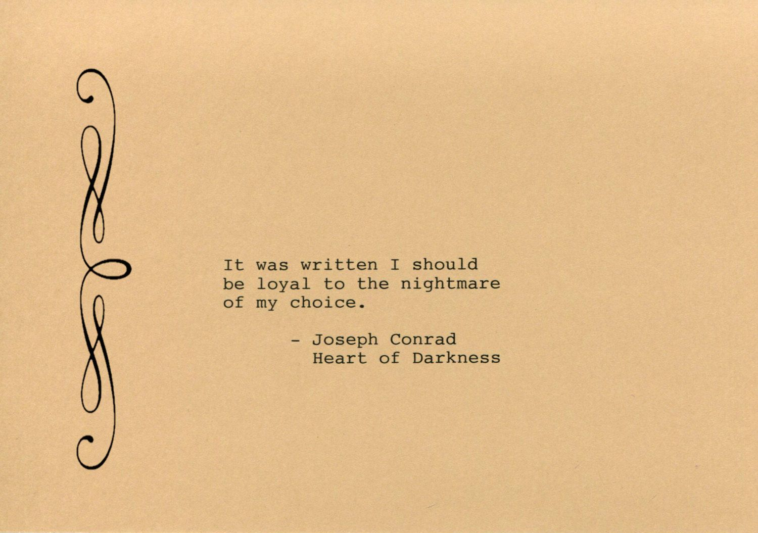 Joseph Conrad Quote Made on Typewriter Art Quote Wall Art - Heart of ...