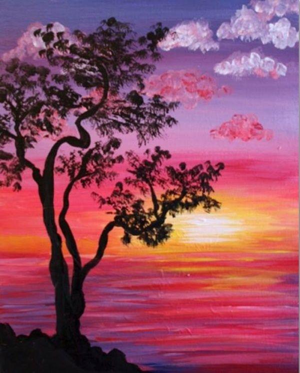 40 Simple And Easy Acrylic Landscape Painting Ideas Landschapsschilderijen Bomen Schilderen Canvasschilderijen