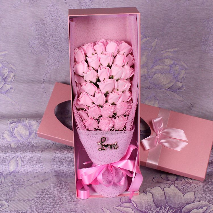 Wholesale 33 Roses Soap Flower Bouquet Festival Valentine S Gift Box Free Ship Unbranded Bom Dia Com Flores