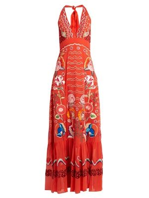 Temperley London Woman Nymph Printed Silk-chiffon Halterneck Gown Red Size 18 Temperley London Buy Cheap Deals How Much New Style Fake Cheap Online Buy Cheap Recommend 27Mu7qmgq