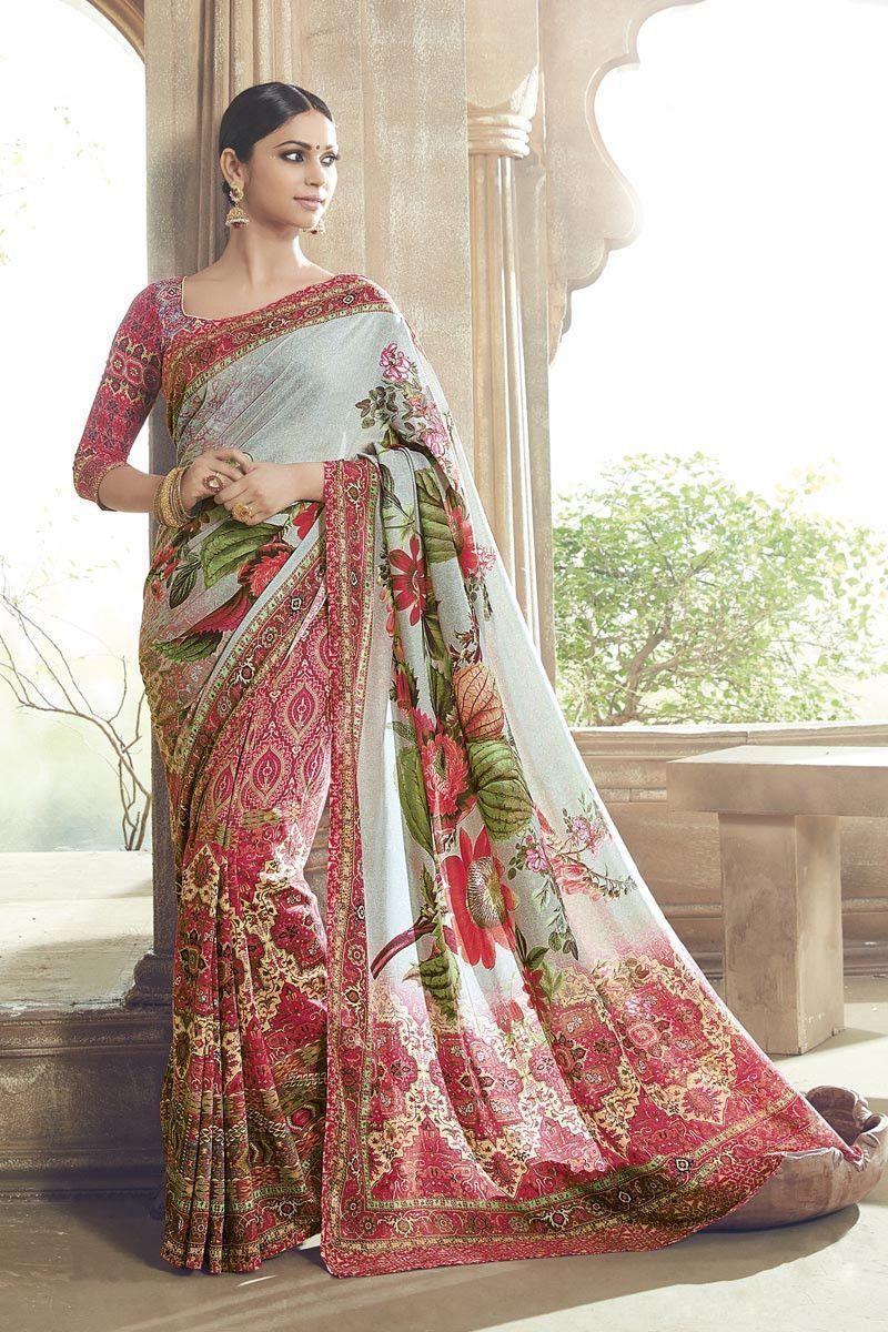 Sari wedding dress  Grey u Pink Art Silk Printed Saree  Products  Pinterest  Pink art