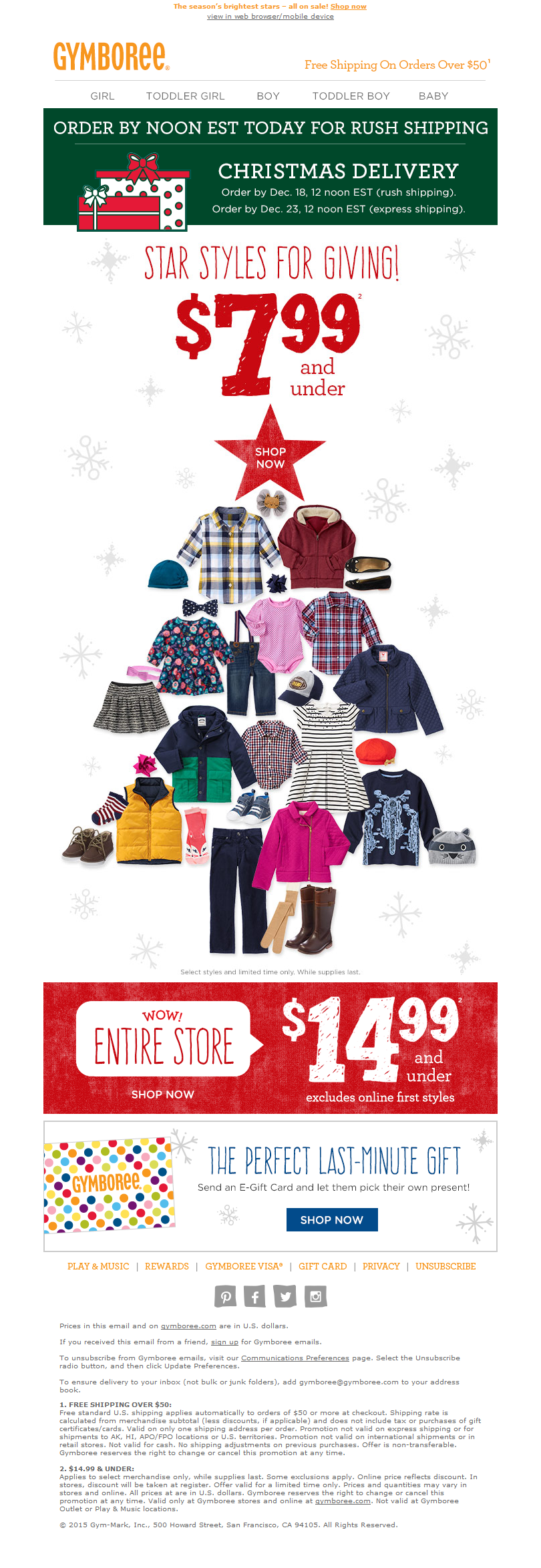 Christmas Tree Email Design By Gymboree Holiday Newsletter