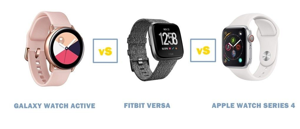 This Is A Comparison Of The Samsung Galaxy Watch Active Vs Fitbit Versa Vs Apple Watch Series 4 Specs And Featur Samsung Watches Apple Watch Series Apple Watch
