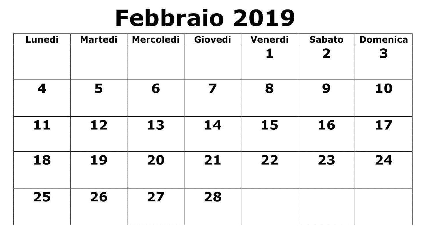Calendario Con Note.Calendario Con Note 2019 Pdf Febbraio 125 February 2019