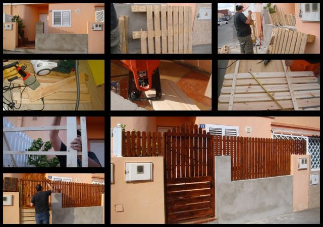 Reja y puerta con madera de palets jardines pinterest for Puertas corredizas de palets