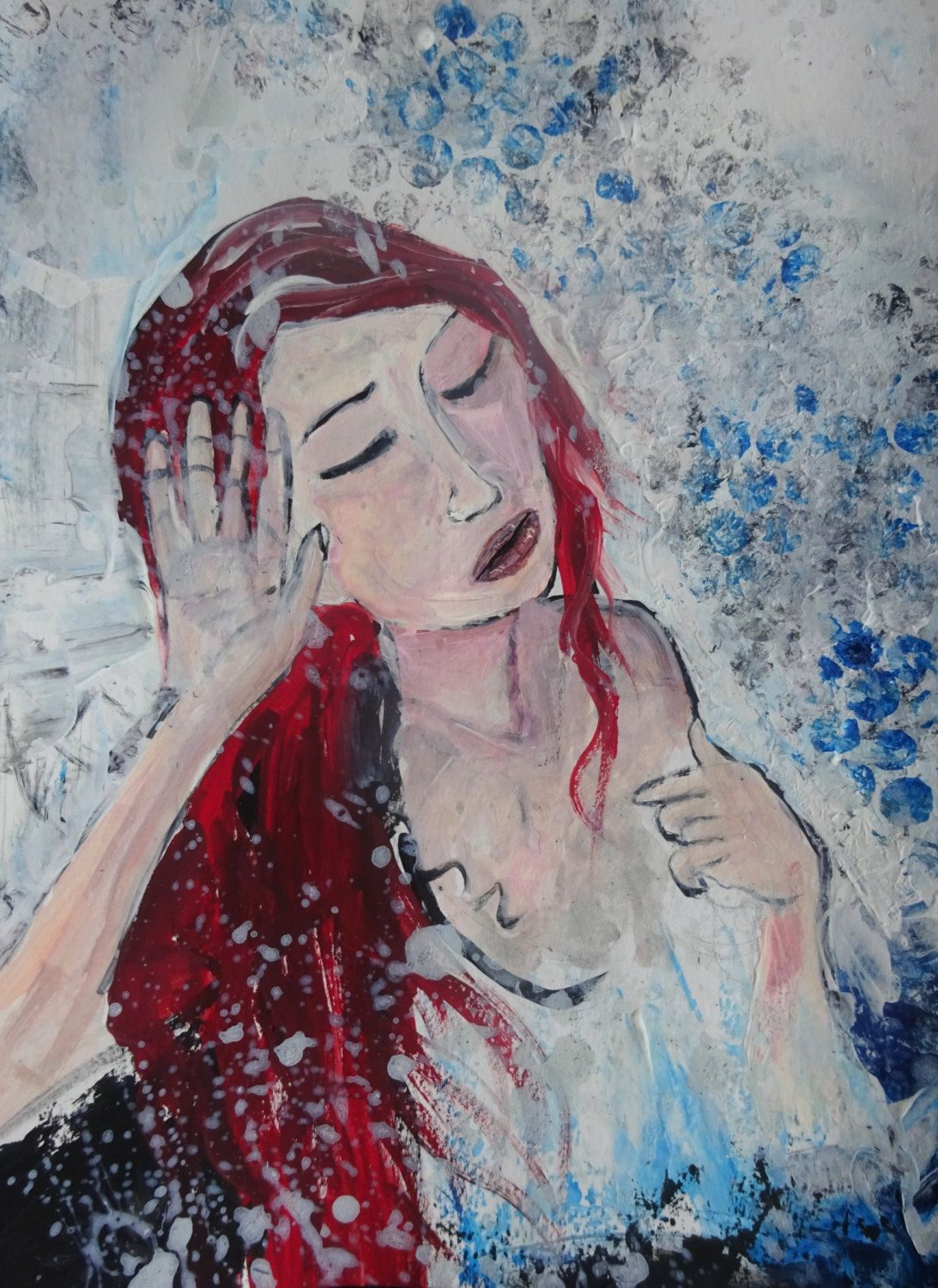 Items similar to Woman - Shower - Woman in Shower - Fine Art - UK Art - Home Decor - Wall Hanging - Discount Art - Wall Art - Gift - Red Head on Etsy & Woman - Shower - Woman in Shower - Fine Art - UK Art - Home Decor ...