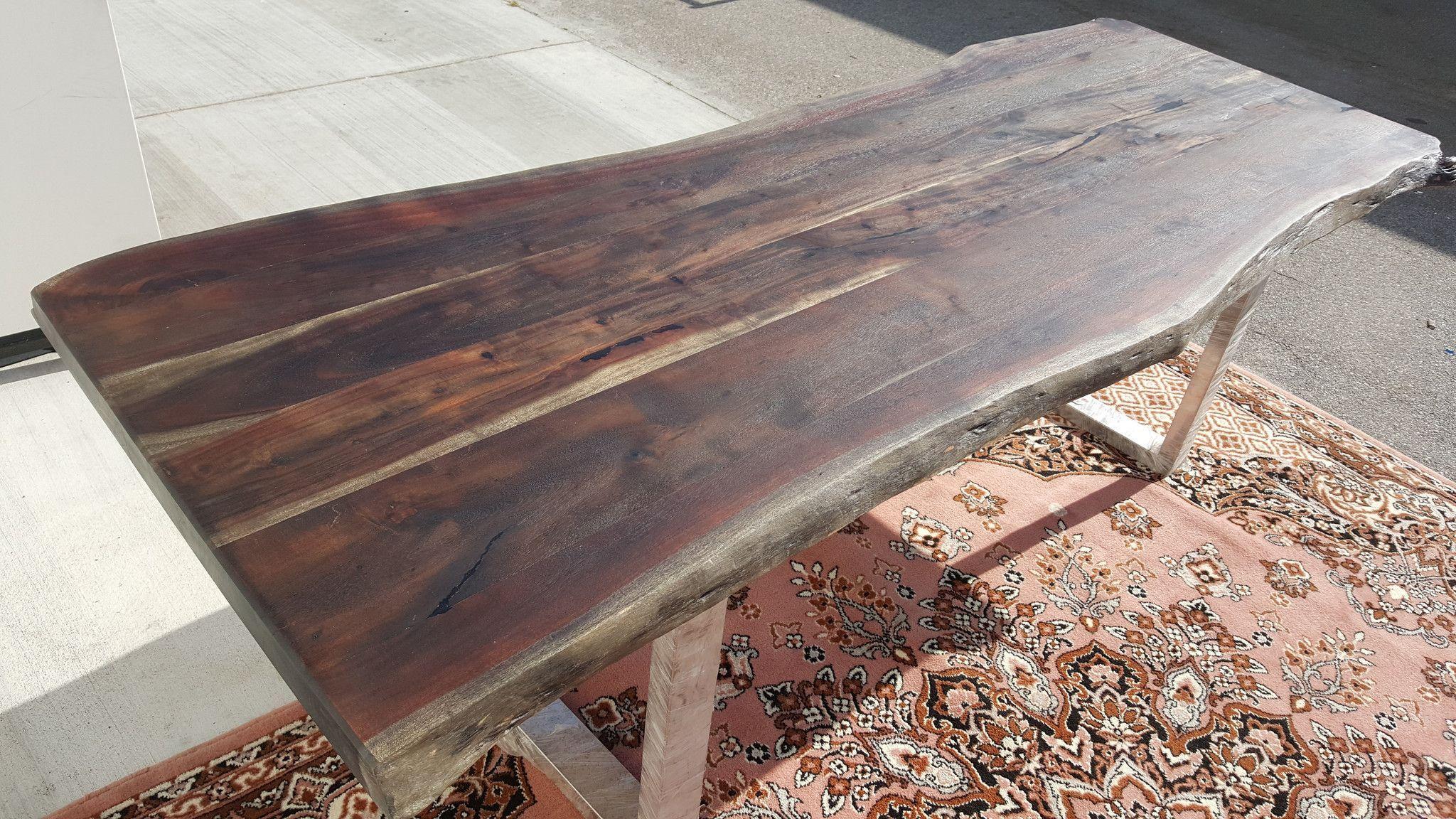 94 Custom Stained Ash Black Acacia Wood Live Edge Table Hand