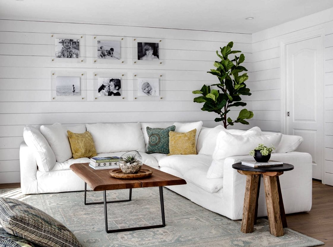 Restoration hardware inspired living room decor with