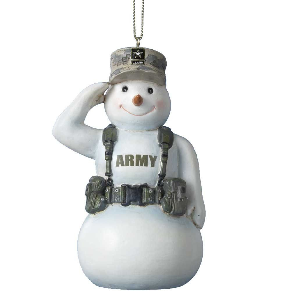 United States U.S. Army Saluting Snowman In Camo Christmas