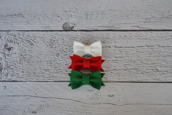 Christmas Set of Mini Wool Felt Bows for Women, Girls and Babies