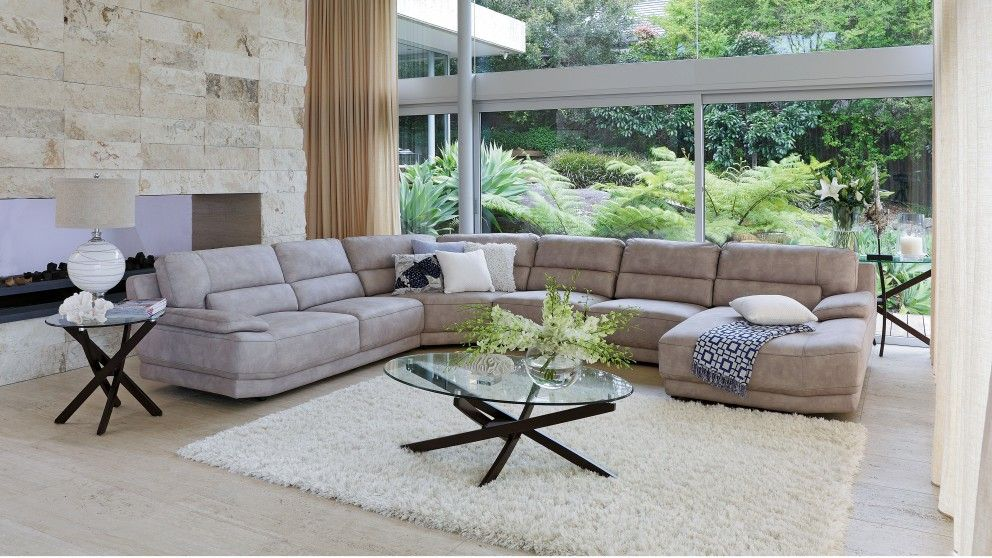Zavier fabric corner lounge with chaise lounges living for Outdoor furniture harvey norman