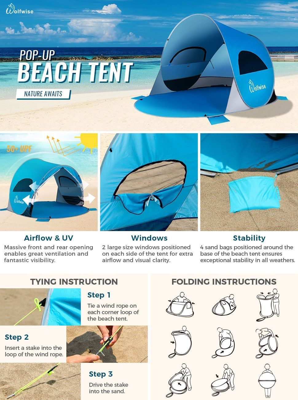 Amazon Com Wolfwise Upf 50 Easy Pop Up Beach Tent Instant Sun Shelter Tent Sunshade Baby Canopy Sports Outdoors Beach Tent Baby Canopy Pop Up Beach Tent