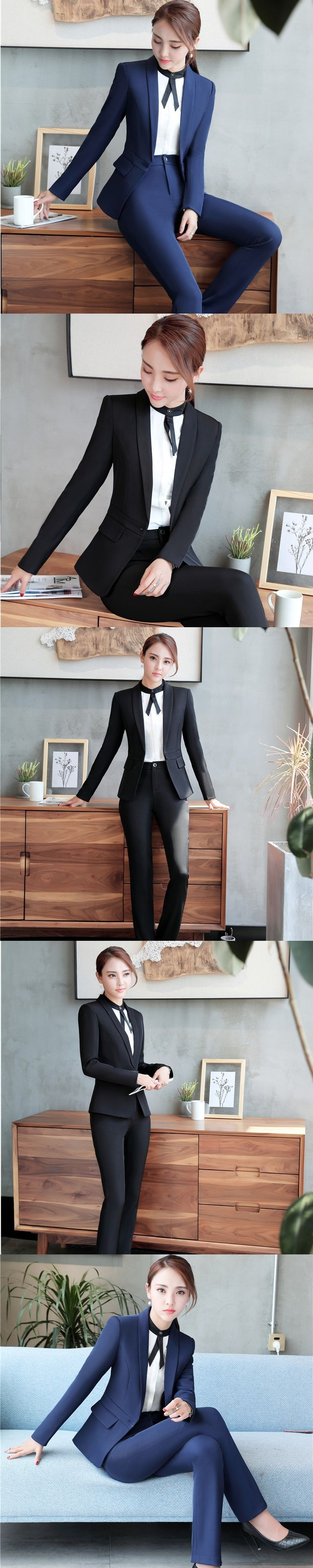 suits office. Elegant Blue Formal Uniform Design Pantsuits With Jackets And Pants For Ladies Office Suits Trousers N