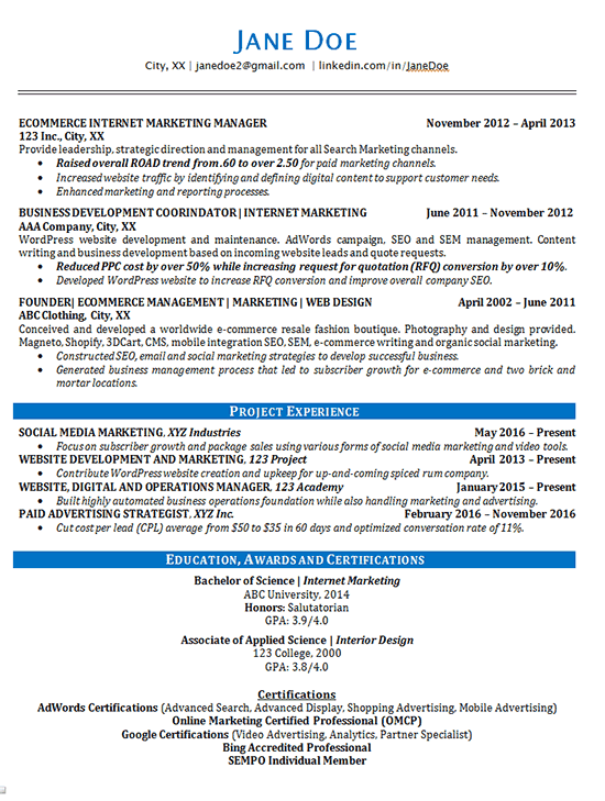 Online Marketing Resume Example  Advertising Resume