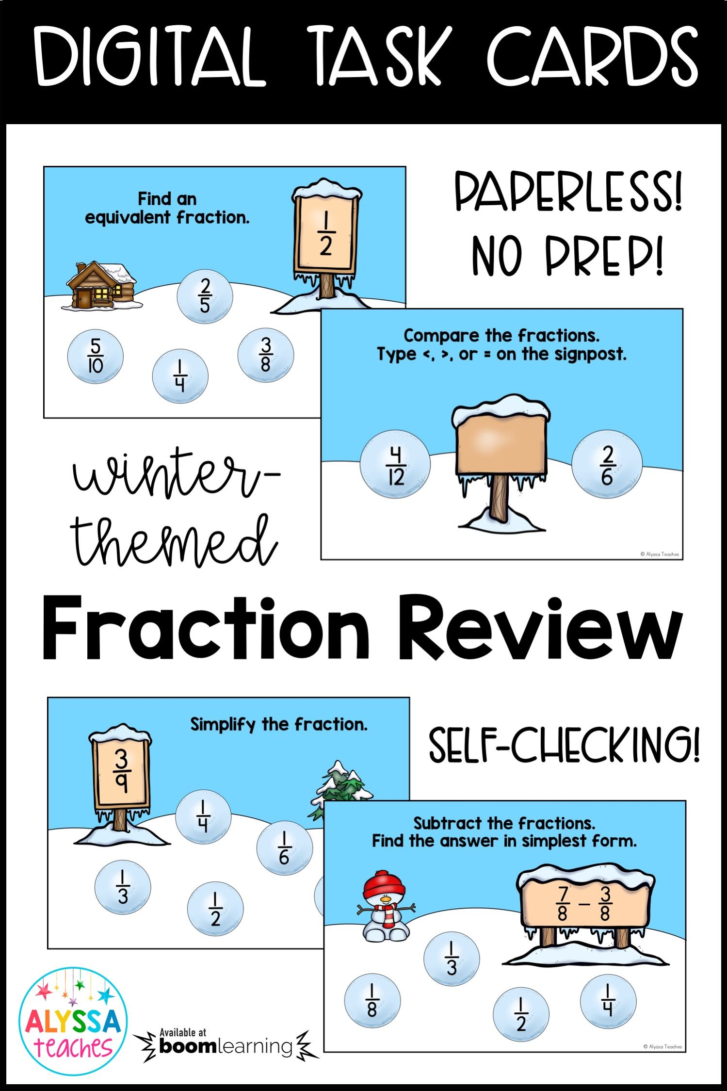 Fractions Review Digital Task Cards Winter Theme