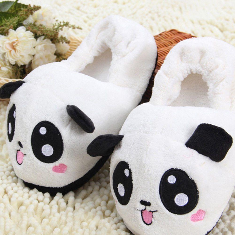 f7a0ba3f7 Adults Warm Casual Slippers Cute Panda Slip On Winter Indoor Soft Comfy  Slipper