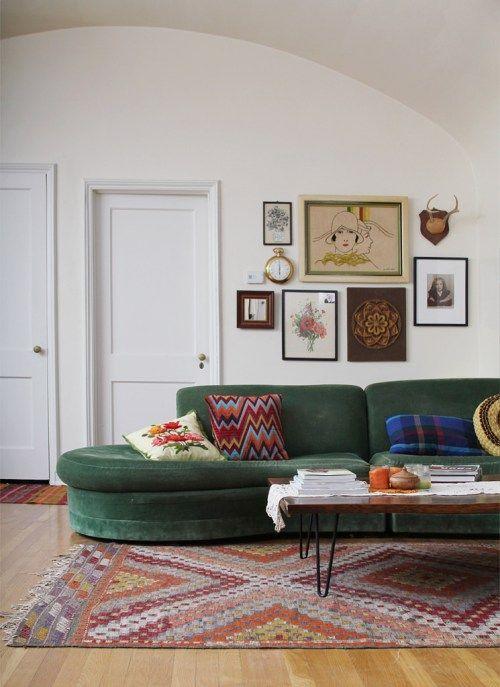 green velvet sofa | Interior, Living room update, Green sofa