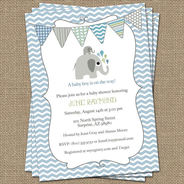 elephant baby boy shower invitation, blue/green bunting, shower ...