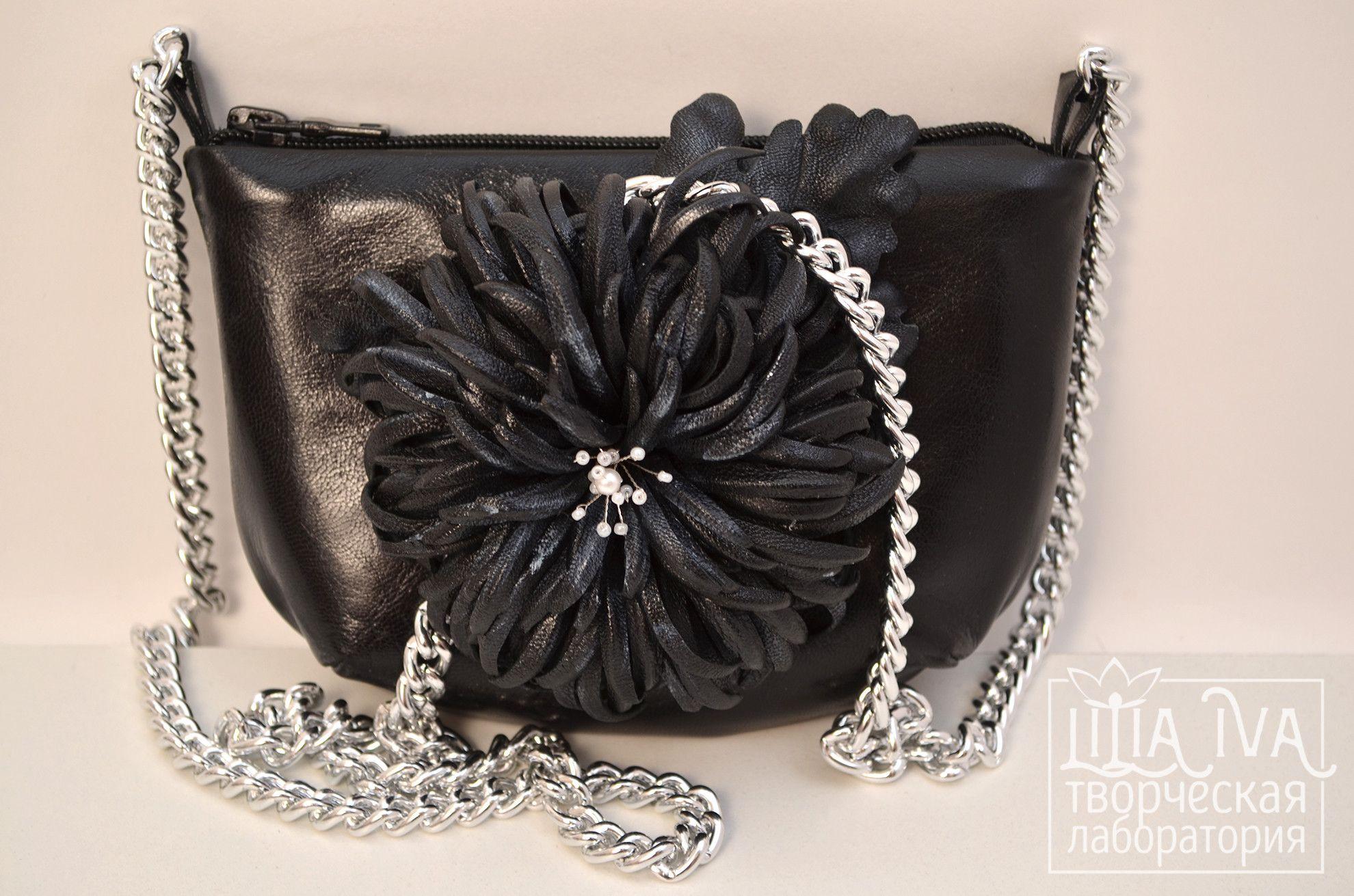 caa5907cb354 Представляю вашему вниманию маленькую сумочку из натуральной кожи чёрного  цвета на серебряной цепочке. Сумку украшает