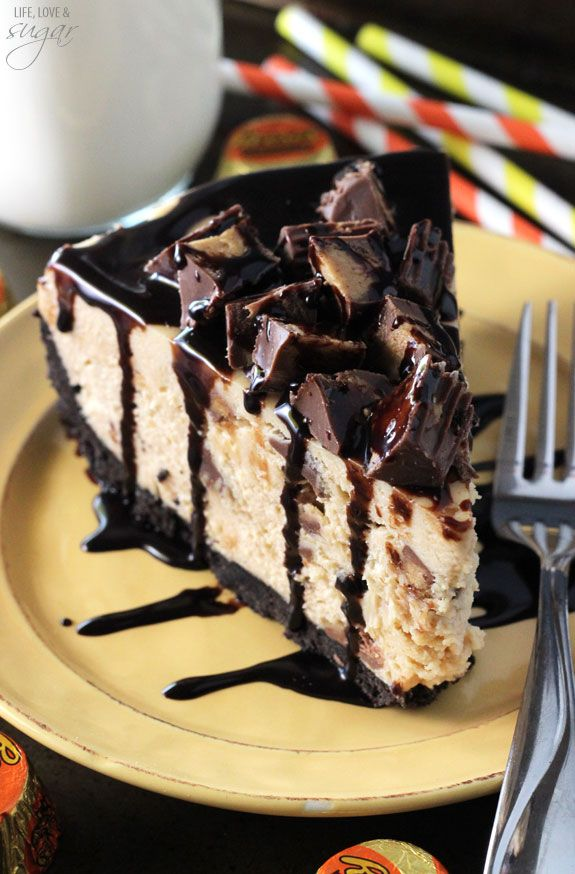 Whip up this no-bake Reese's Peanut Butter Cheesecake topped with mini peanut butter cups and drizzled with more chocolate.