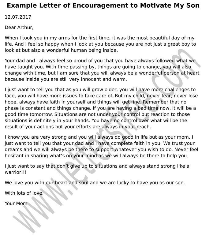 Refer to the sample template letter of encouragement to people who - encouragement letter template