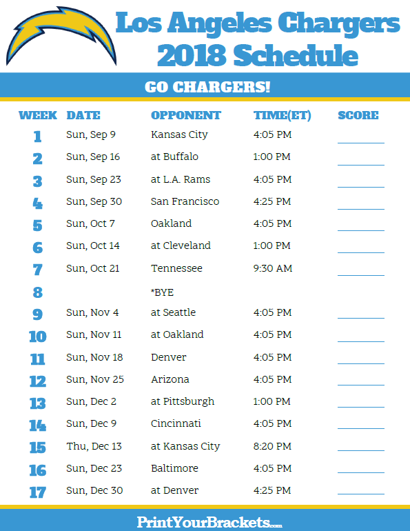 Printable 2018 Los Angeles Chargers Football Schedule Los Angeles Chargers Chargers Football Chargers Nfl