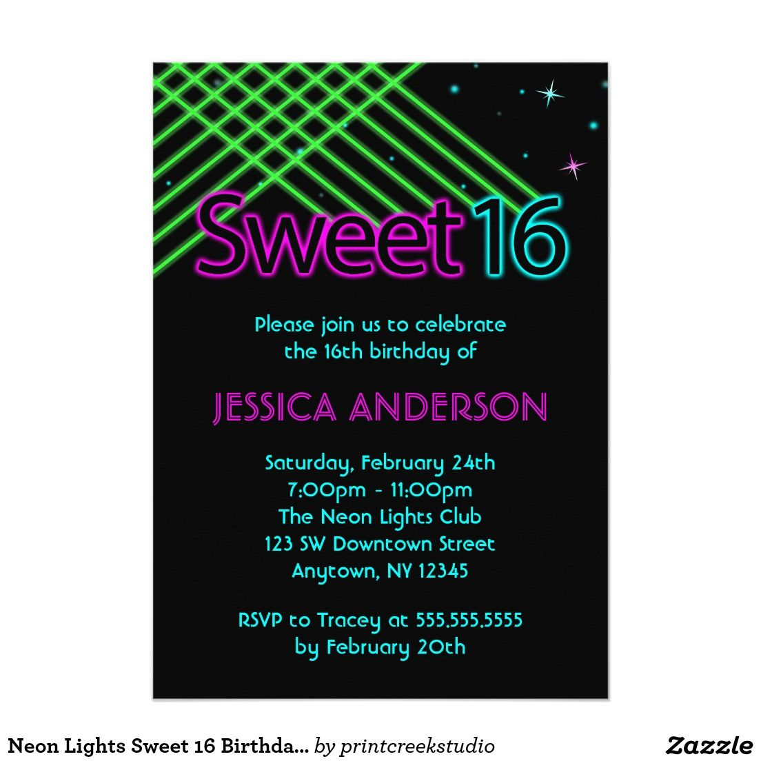 Neon lights Sweet 16 birthday party invitations. A fun 80\'s themed ...