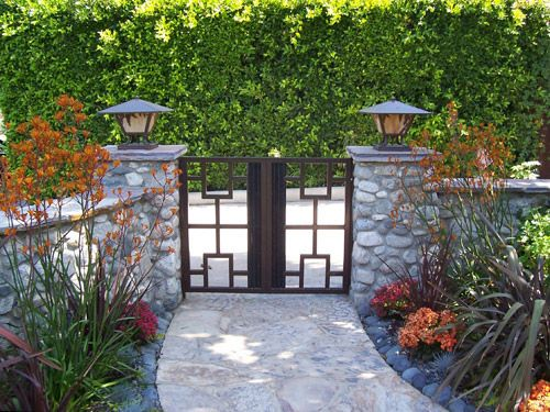 Stone Gate Pillars With Lights On Top Exterior