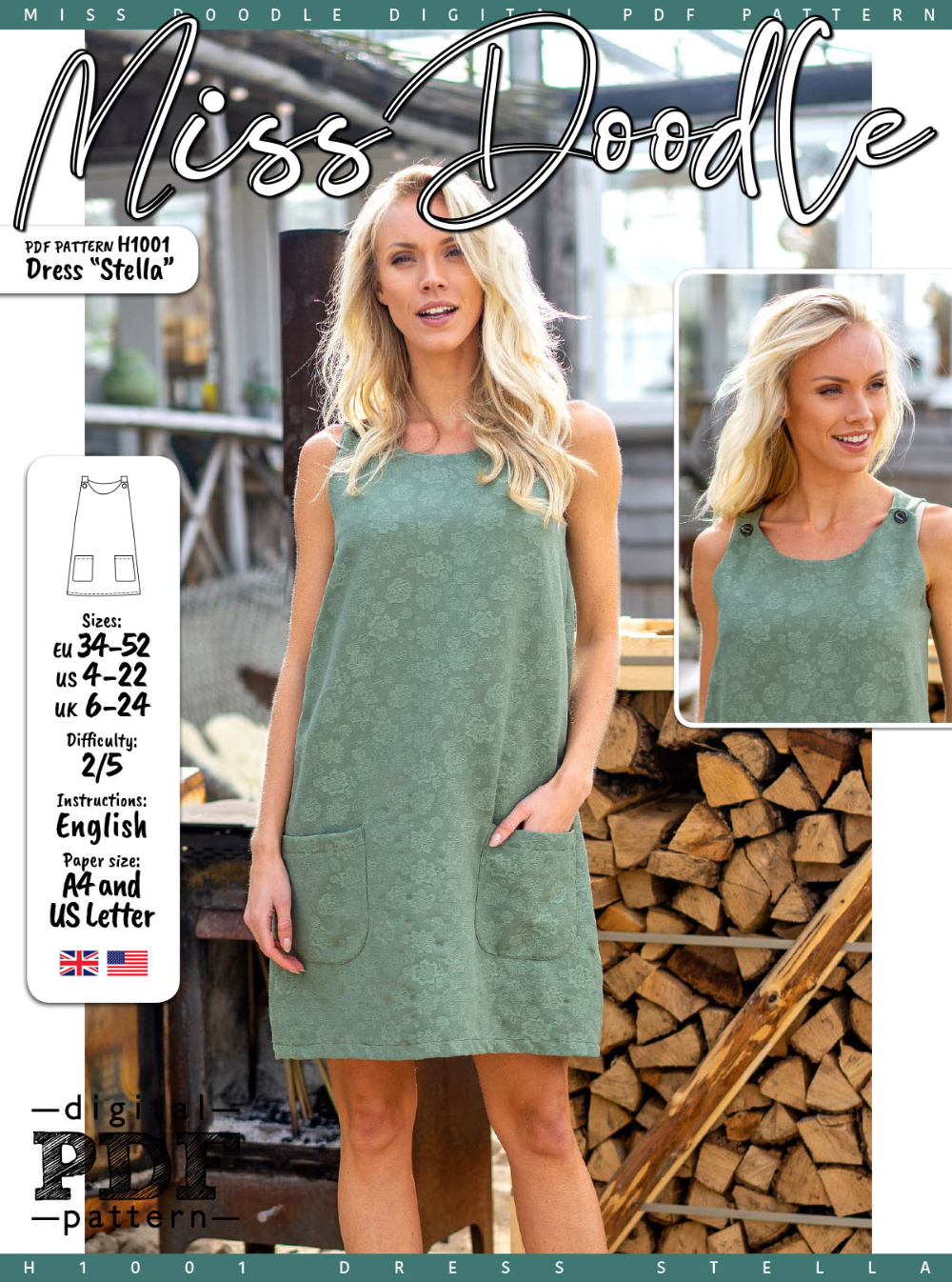 H1001 Dress Stella In 2020 Dresses Free Pdf Pattern Summer Dresses
