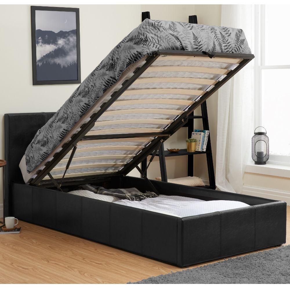 Berlin Black Leather Ottoman Storage Bed Frame 5ft King Size