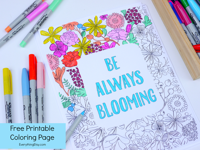 Be Always Blooming Adult Coloring Page Printable   DIY Ideas ...
