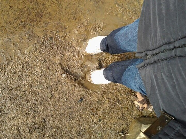 Wearing white keds in the mud | White