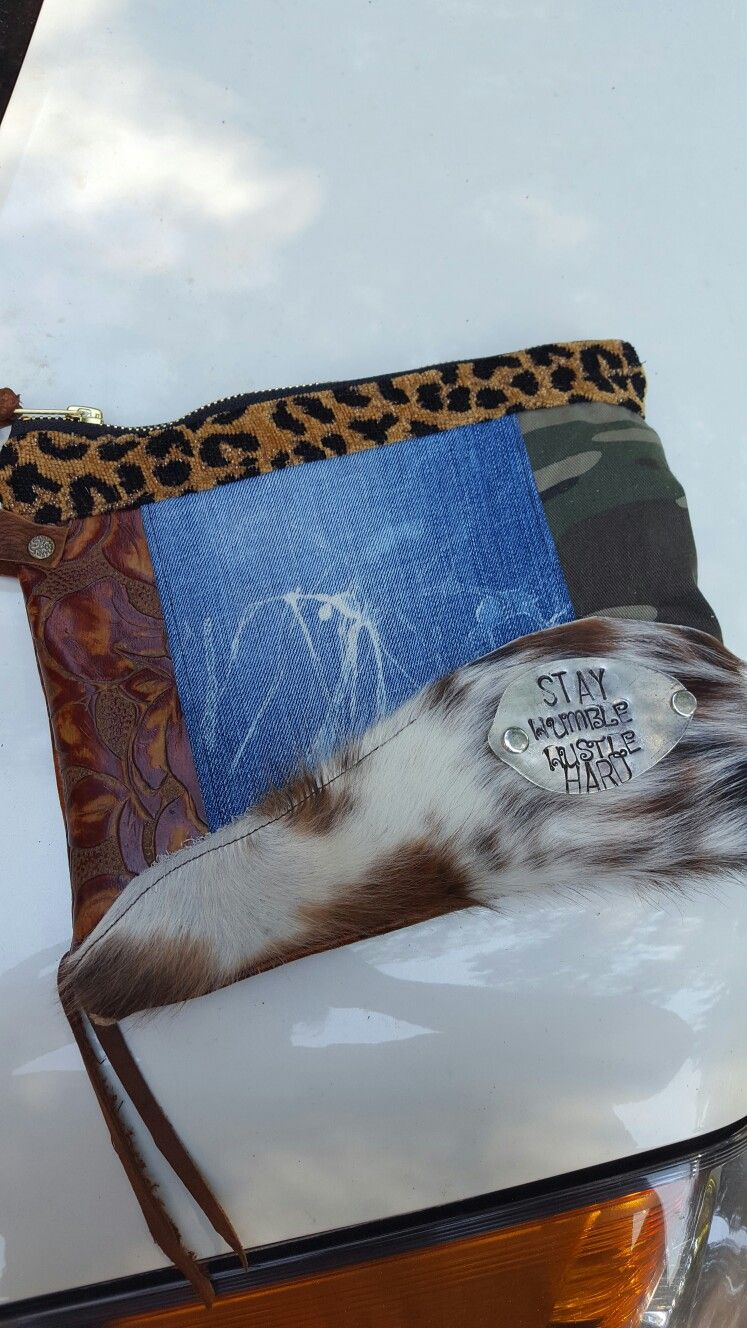 This one is mine. Cowhide leather camo zipper pouch bag